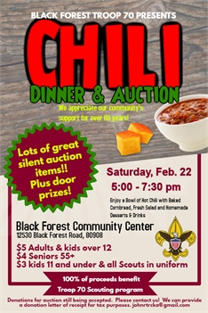 Black Forest Troop 70 Chili Dinner & Silent Auction