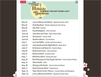 Hillside Gardens - 2019 Summer Concert Series