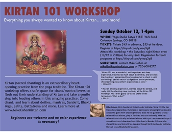Kirtan 101 Workshop with Mike Cohen at Yoga Studio Satya