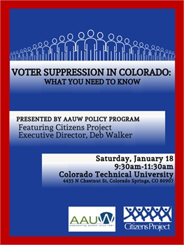 Voter Suppression in Colorado: What You Need to Know (AAUW Branch Meeting)