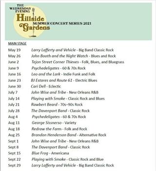 Hillside Gardens Summer Concert Series - 2021