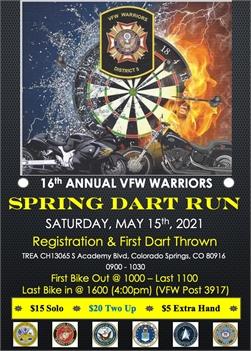 VFW Warriors Annual Spring Dart Run