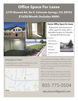 Great Office Space Available at 6799 Bismark Rd Colorado Springs